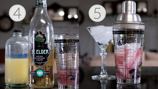 Steps 4 and 5 for making a blueberry elderflower martini