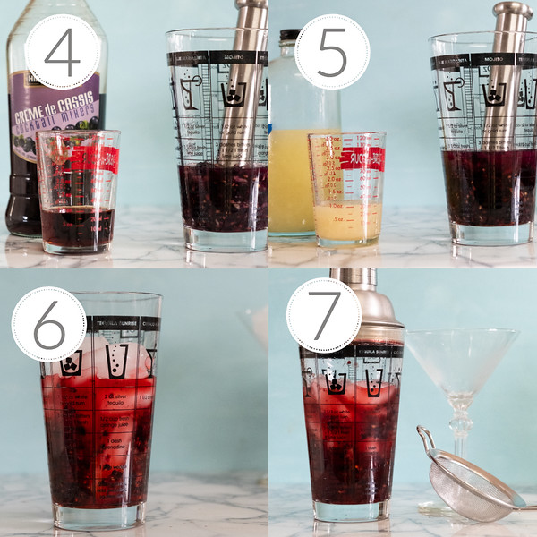 Photo Collage showing steps 4, 5, 6, and 7 for making fruity martini.