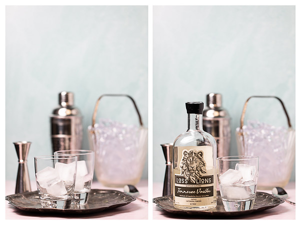 Photo collage showing the first two steps for making a Greyhound cocktail.