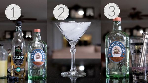Photo Collage showing the first 3 steps to making a blueberry elderflower martini.