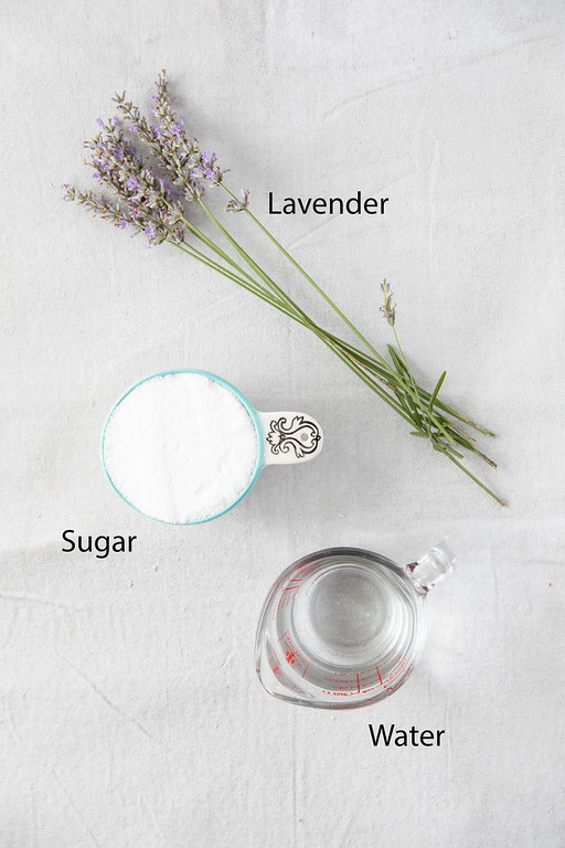 Photo showing the three ingredients in lavender simple syrup.