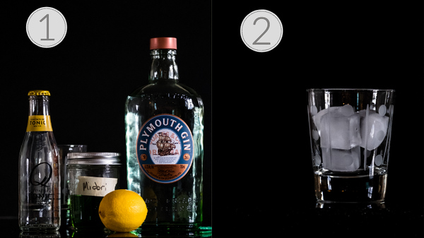 Photo showing steps one and two on how to make a midori gin and tonic