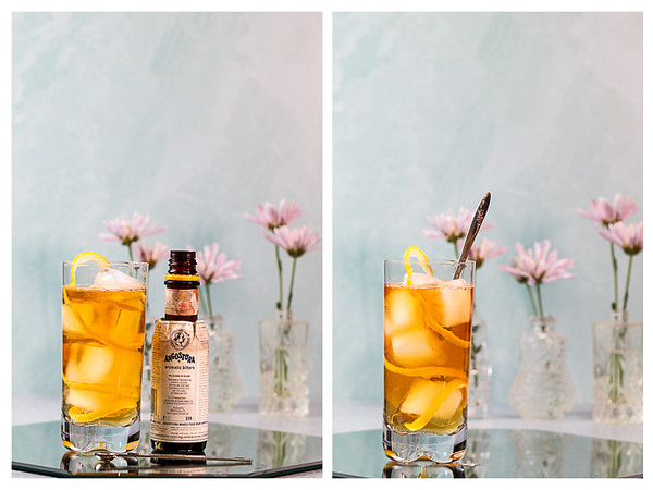 Photo collage showing bitters and the cocktail being stirred.