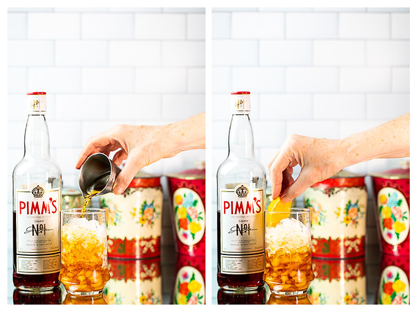 Photo collage showing Pimm's being poured into a glass and then garnished with an orange wheel.