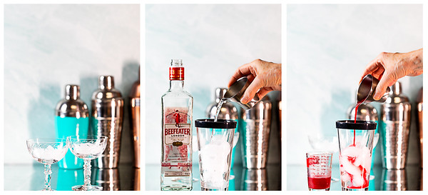Photo collage showing ice in gasses, gin added to cocktail shaker and raspberry syrup added to cocktail shaker.