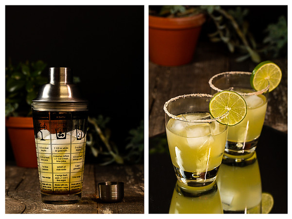 Photo collage showing cocktail in the shaker and then in the glass.