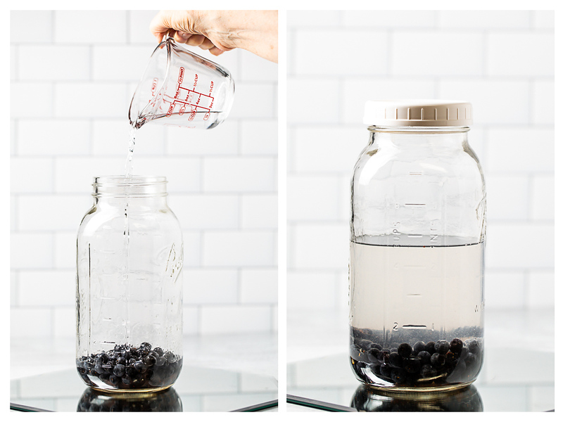 Photo collage showing vodka added to jar of blueberries and then a lid on the jar.