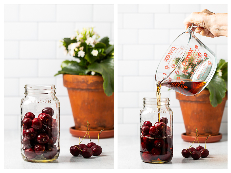 Photo collage showing cherries in a jar and brandy being poured on the cherries.