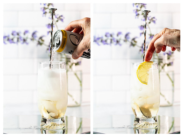 Photo collage showing tonic water being poured into glass and lemon wedge added to the cocktail.