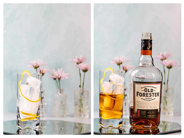 Photo collage showing glass with lemon garnish and bourbon added to it.