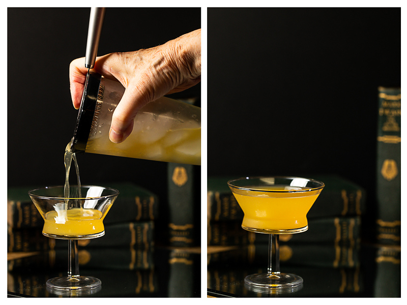 Photo showing cocktail being strained into couple glass and then completed cocktail.