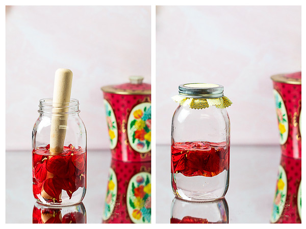 Photo collage showing flower petals being muddled in a jar and then a lid put on the jar.