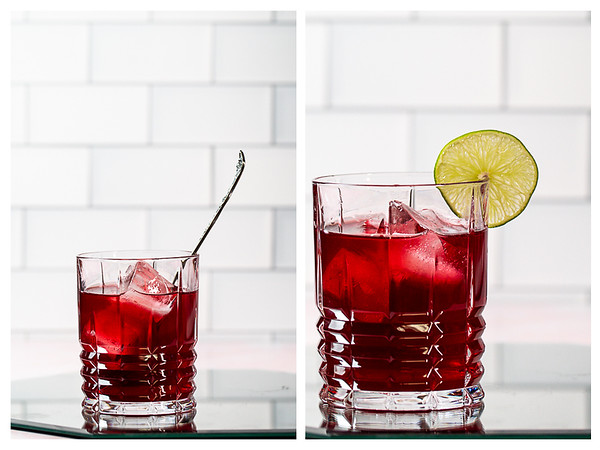Photo collage showing deep red cocktail being stirred and garnished with a lime wheel.