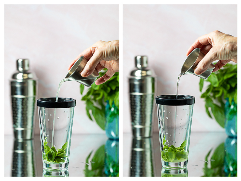 Photo collage showing liquid being poured into a cocktail shaker with basil leaves.
