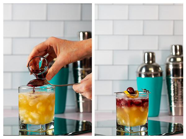 Photo collage showing red wine being poured over a spoon to float on top of cocktail.