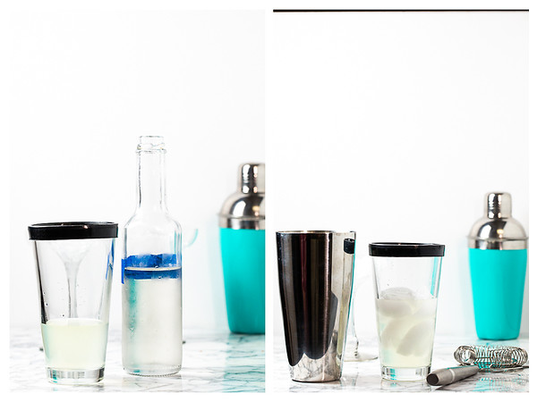 Photo collage showing simple syrup and ice cubes being added to shaker.