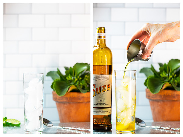 Photo collage showing glass filled with ice and Suze being poured over the ice.