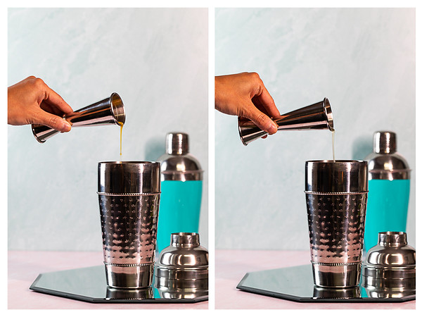 Photo collage showing Mango juice and lime juice being added to cocktail shaker.
