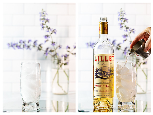 Photo collage showing ice in a glass and Lillet Blanc being poured into the glass.
