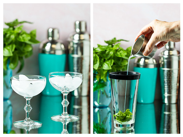 Photo collage showing ice in a coupe glass and liquid being poured into a cocktail shaker.