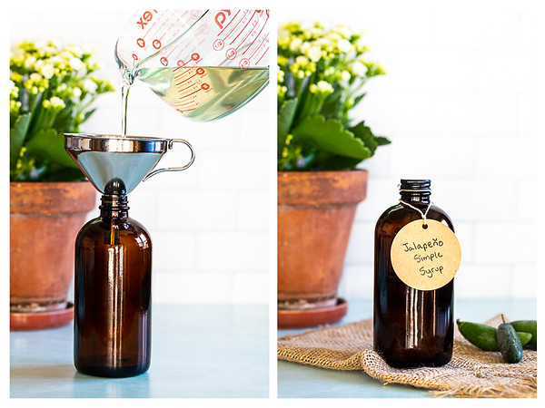 Photo collage showing jalapeño simple syrup being poured into a bottle and then the bottle with it's label.