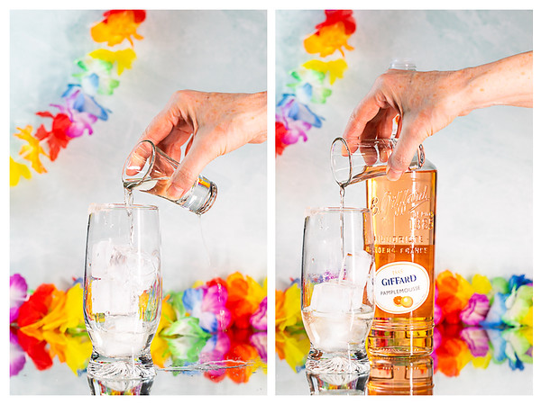 Photo collage showing adding tequila and grapefruit liqueur to a collins glass.