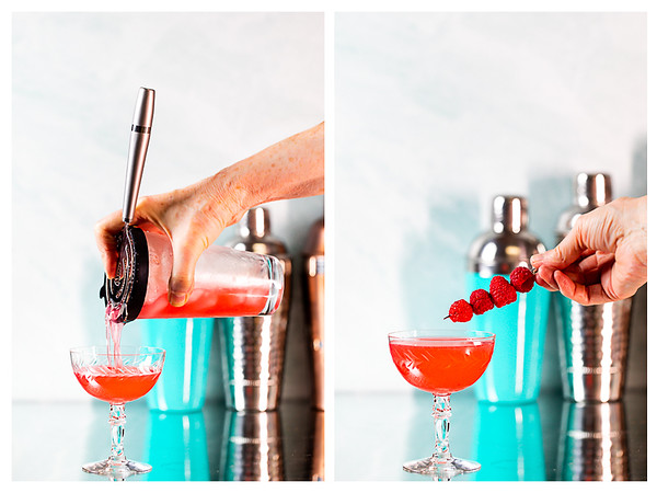 Photo collage showing cocktail being strained into a coupe glass and then being garnished with raspberries.