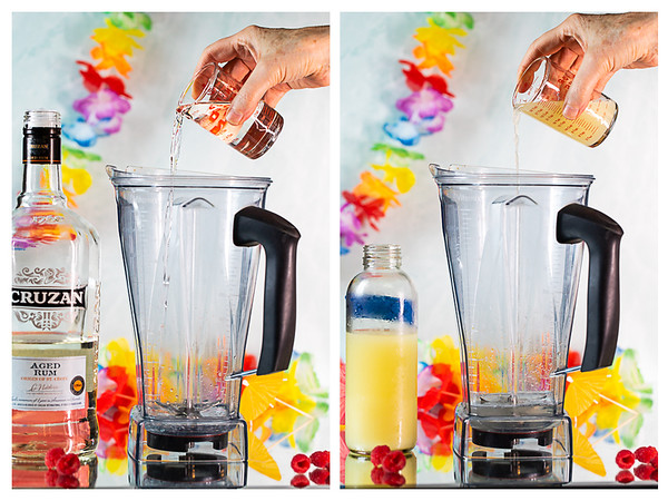 Photo collage showing rum and lime juice being added to a blender.