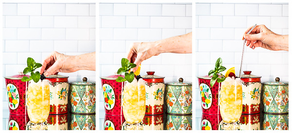 Photo collage showing cocktail being garnished with mint, berries an orange slice and a straw.