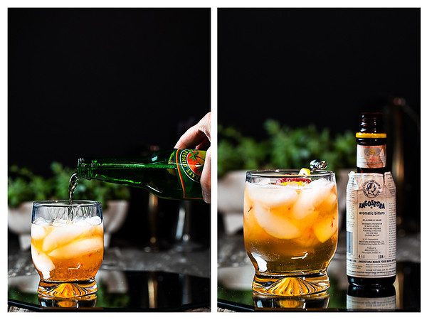 Photo collage showing ginger beer being added to cocktail and then bitters.