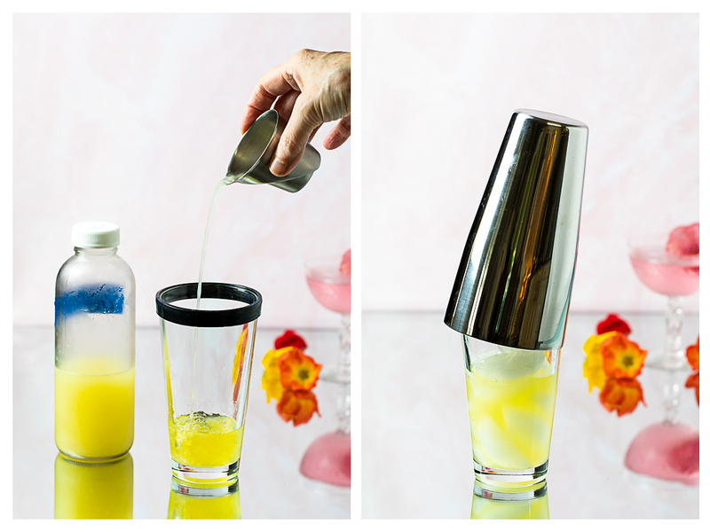 Photo collage showing lemon juice added to shaker, shaker filled with ice and a lid put on the shaker.