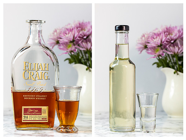 Photo collage showing bourbon and simple syrup measured out.