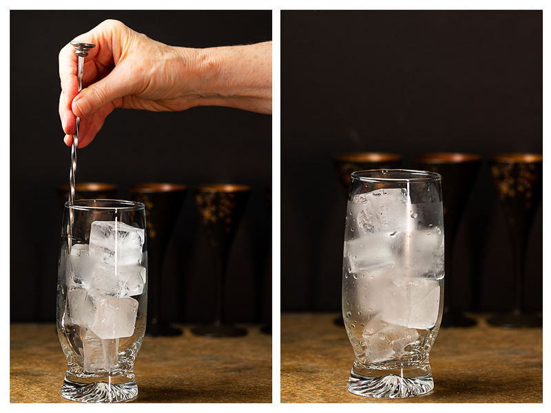 Photo collage of ice being stirred in a glass and then the chilled glass.
