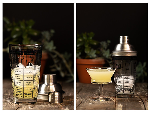 Photo collage showing gimlet in the cocktail shaker and then strained into glass.