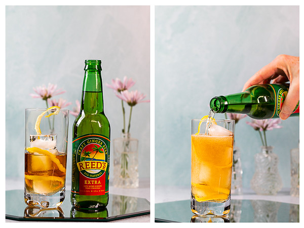 Photo collage showing ginger beer being added to the cocktail glass.