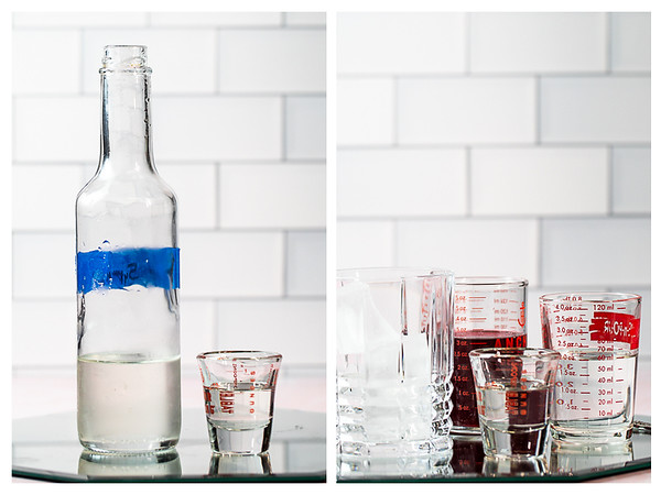 Photo collage showing simple syrup and all of the measured ingredients for the vodka cranberry.
