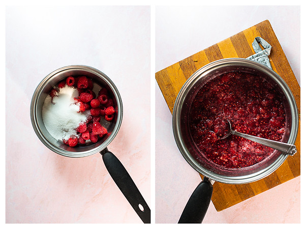 Photo collage showing raspberries with sugar in a pot before and after cooking.