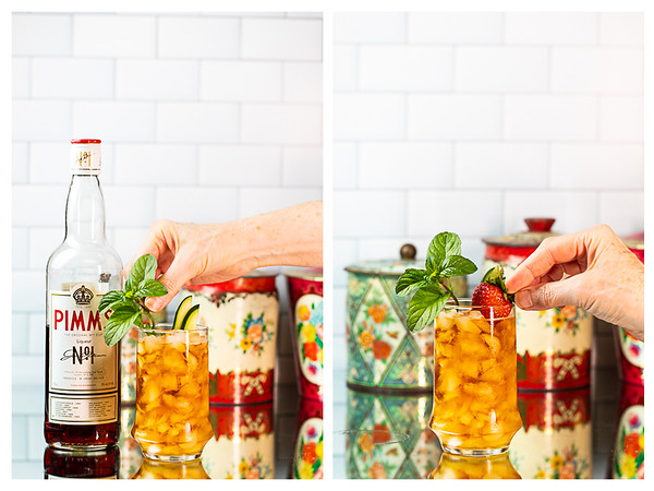 Photo collage showing mint and a strawberry added to the cocktail.