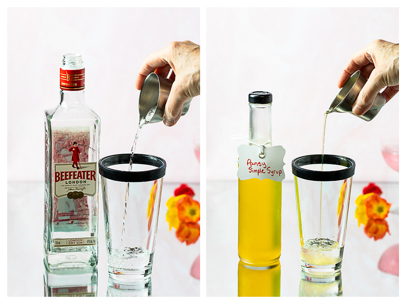 Photo collage showing gin and simple syrup added to a cocktail shaker.