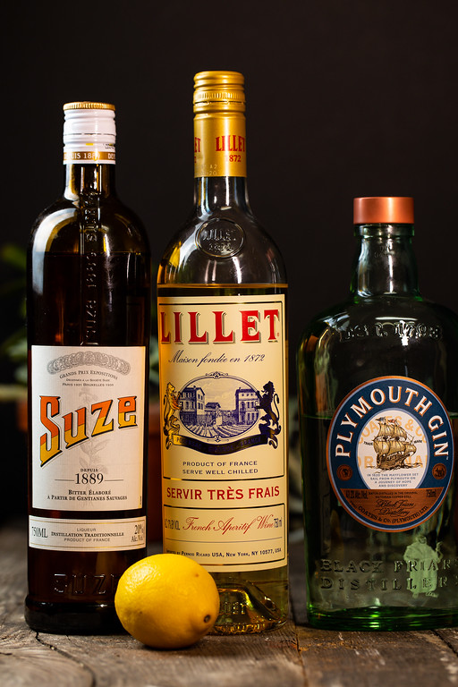 Suze, Lillet Blanc, Plymouth gin and a lemon to make a White Negroni.