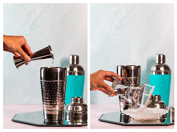Photo collage showing tequila added to cocktail shaker and glass rimmed in salt.