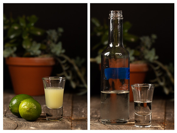 Photo collage showing lime juice and simple syrup measured out.