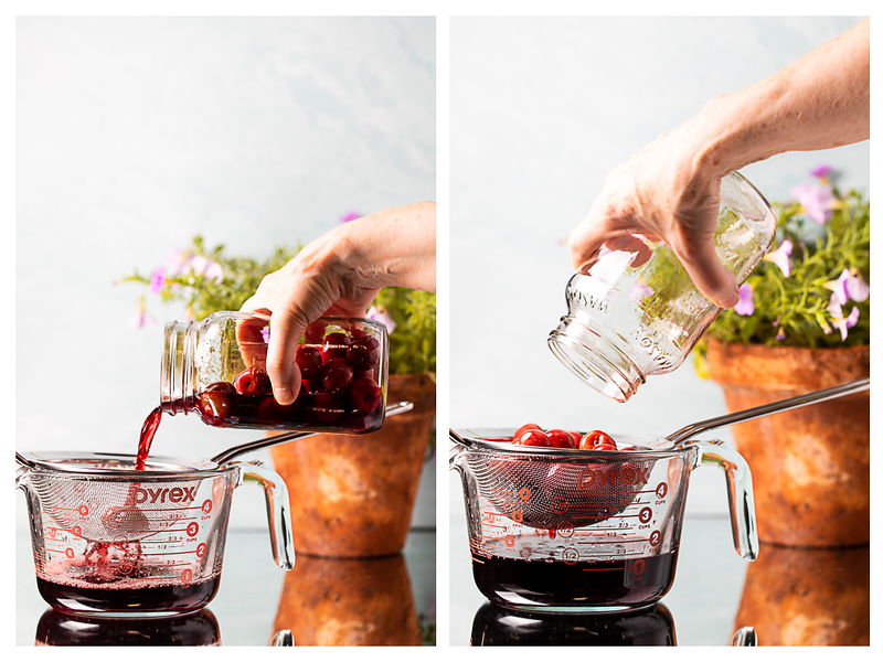 Photo collage showing cherries being strained out of the brandy.