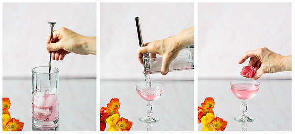 Photo collage showing cocktail being stirred, strained into a glass and then garnished with a flower.