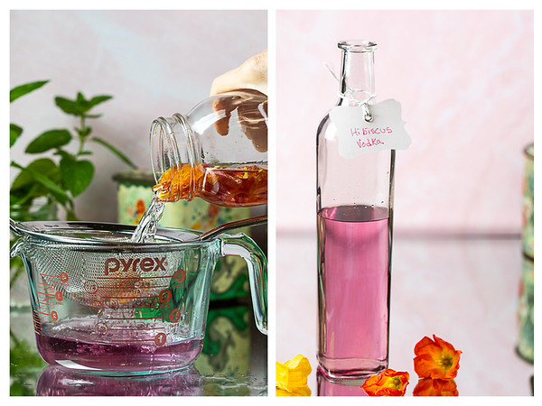 Photo collage showing flowers being strained out and then a bottle of pale pink liquid.