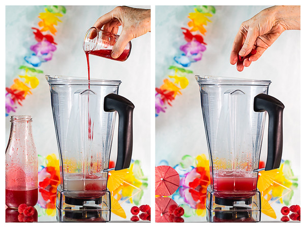 Photo collage showing raspberry syrup and then fresh raspberries added to blender.