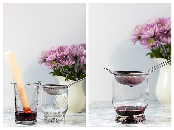 Two photos showing blackberries muddled and strained.