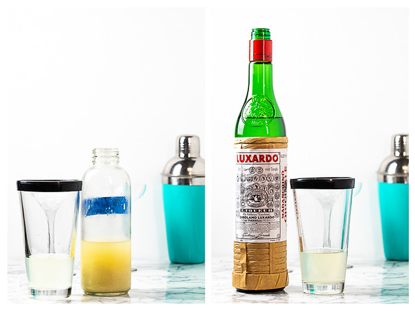 Photo collage showing lime juice and Maraschino liqueur being added to the cocktail shaker.