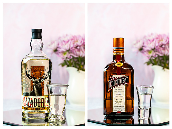 Photo collage showing tequila and Cointreau.