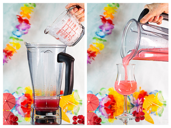 Photo collage showing ice being added to blender and then blended daiquiri being poured into a glass.